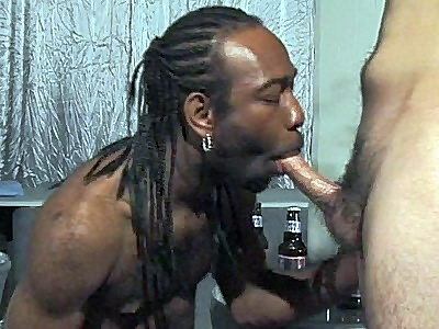 Horny Black Guy suck a White Dick